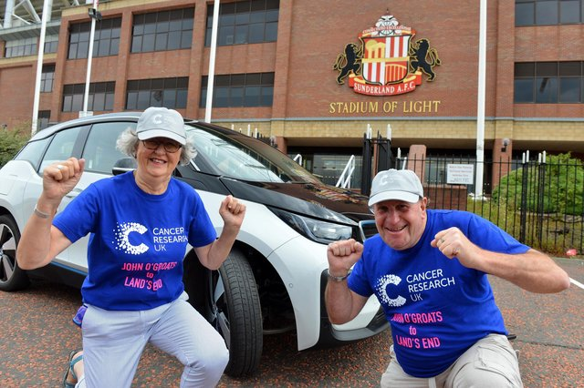 Laila Wesenlund and Eric Bowman are raising money for Cancer Research UK by driving from John O'Groats to Land's End in an electric car. Picture by Stu Norton.