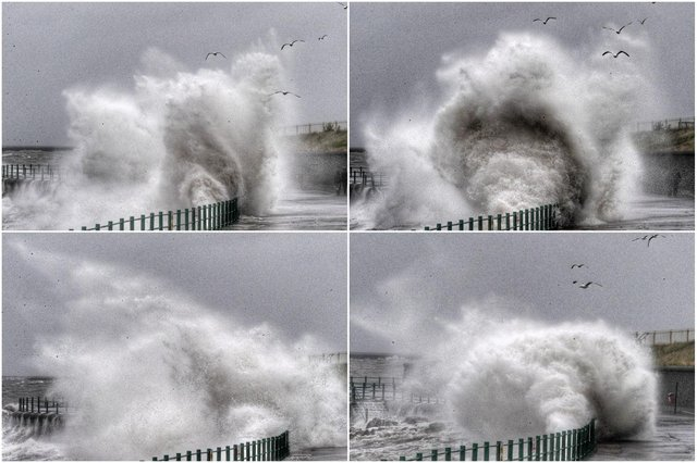 Stunning images capture waves crashing over the promenade at Seaburn. Picture: NNP.