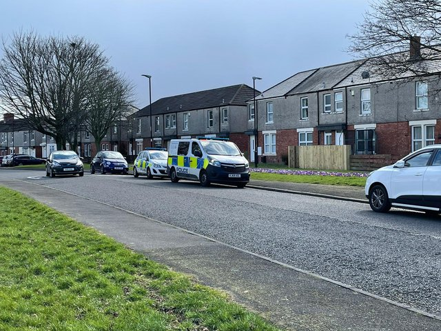 Police on the scene of the inquiries on Tyne Gardens, Concord.