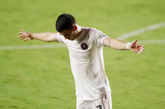 Lewis Morgan of Inter Miami CF celebrates after scoring a goal in the 27th minute against New York City FC at Inter Miami CF Stadium on October 03, 2020 in Fort Lauderdale, Florida.
