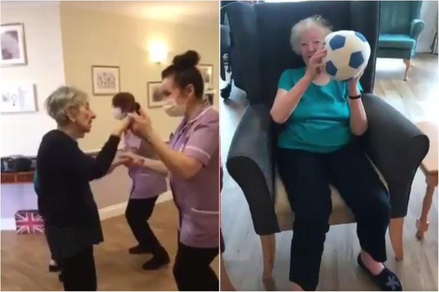 Residents and staff at St Martin's Washington Manor Care Home supporting England during Euro 2020