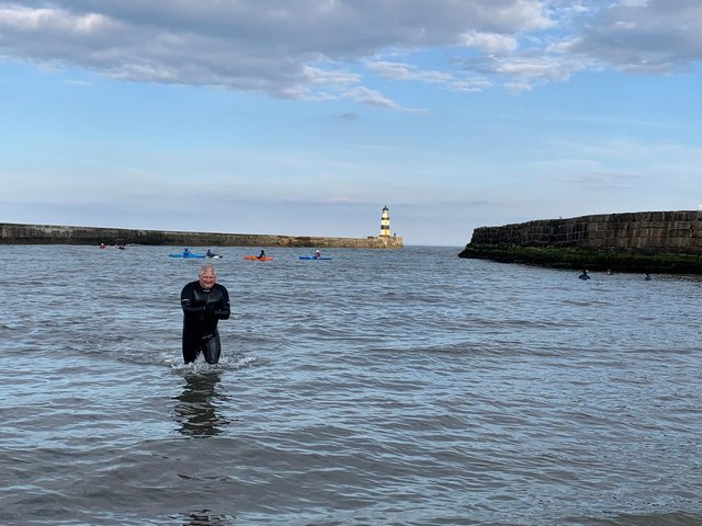 Mental health trainer Jase (pictured) regularly swims at Seaham beach.