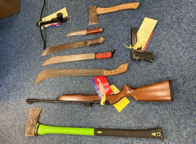 Some of the weapons found in Sunderland raid