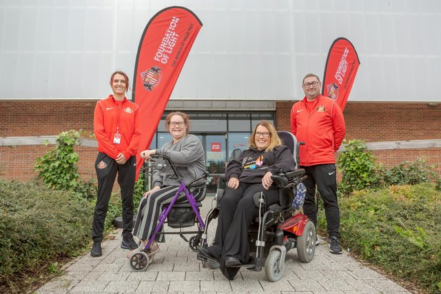 Tara Johnson from Tailored Leisure Co with her client Jane Bray (grey jumper) join Get Out, Get Active (GOGA) Programme Coordinator, Dominic Oliver and his colleague Jade Gilbertson at the Beacon of Light in Sunderland Picture: DAVID WOOD