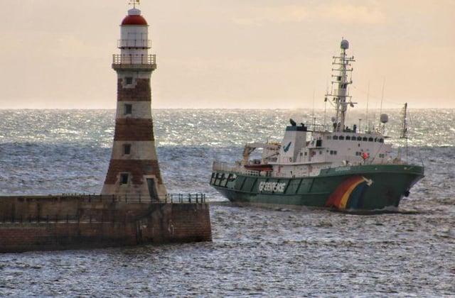 The Greenpeace Esperanza was spotted near Roker. (Photo by Ian Maggiore)