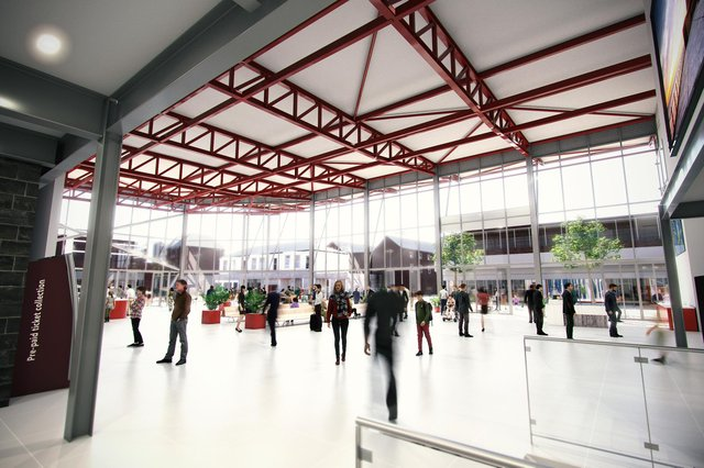 The new station will include new ticket booths, waiting rooms, shops and cafes.