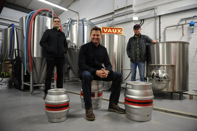 George Clarke with Vaux Brewery co-founders Michael Thompson and Steven Smith.