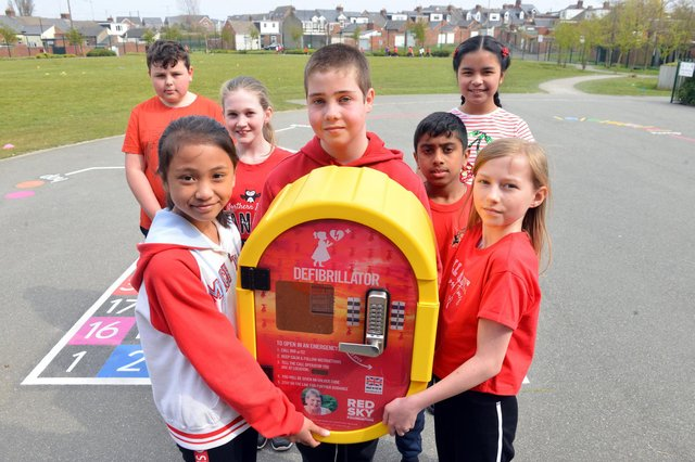 St Joseph's Primary School defribrillator fundraiser following the death of a school staff member Christine Graham. Front from left Charlotte Dino, 11, Joseph Tudberry, 11 and Ruby Charlton, 10. Back from left Ryan Little, 10, Eloise King, 10, Samantha Chavez, 10 and Daniel Bijo, 11.