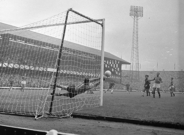 Goalkeeper Enrico Albertosi saves for Italy against Chile during a World cup clash at Roker Park on July 13, 1966.