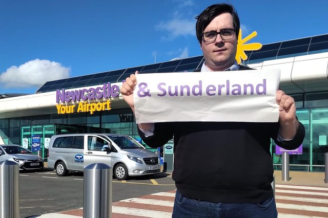 Councillor Paul Edgeworth outside Newcastle Airport.