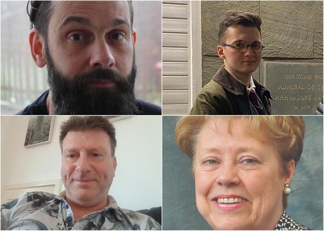 From top left: Chris Crozier, Jack Simm, Pat Smith and Ian Walton. No candidate statement or photo provided by Sharon Elizabeth Boddy.