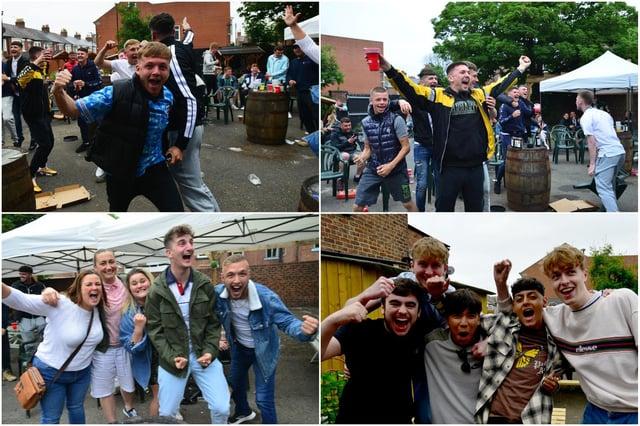 Fans celebrate England's win