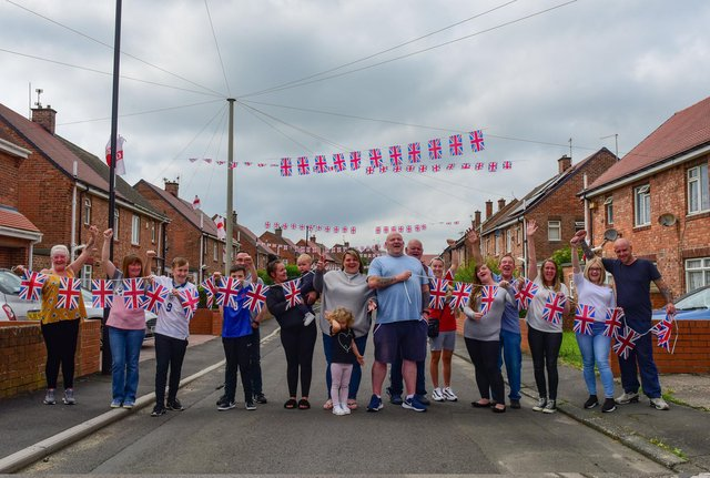 Residents in Coverdale Avenue in Washington have decorated the street ahead of England's first appear in a major final since 1966.