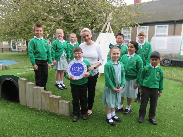 West Rainton Primary School deputy head Susan Firth with pupils from Years 2-6.
