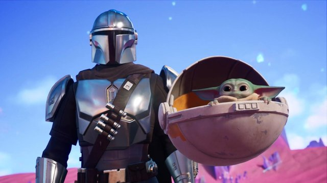 Characters from The Mandalorian - including the cutesy Baby Yoda - appear in Fortnite's new 'Zero Point' season (Image: Epic Games)