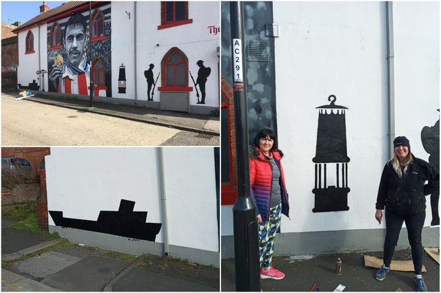 New artworks on the side of the Times Inn