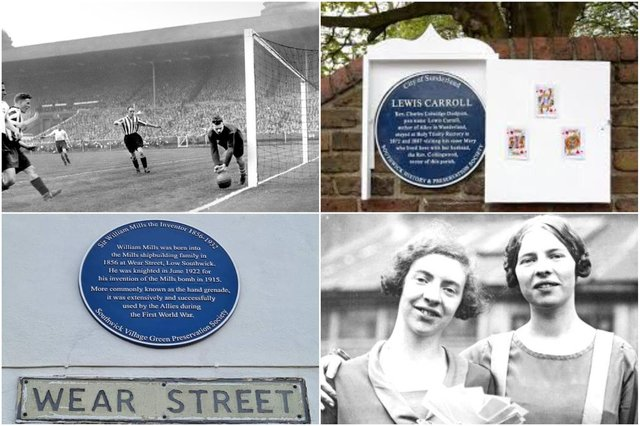 Blue plaques honouring notable people on Wearside