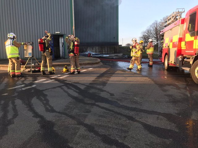 Tyne and Wear Fire and Rescue Service shared this photo of its firefighters at the scene of the blaze.