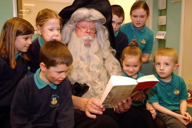 Storytime was very special at the new library in Oxclose Primary School in 2005, when this character read from a Harry Potter book to the children.