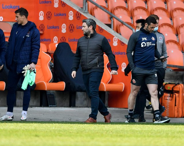 Lee Johnson watches on at Blackpool