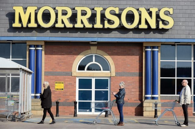 Shoppers practice social distancing at Morrisons in Seaburn