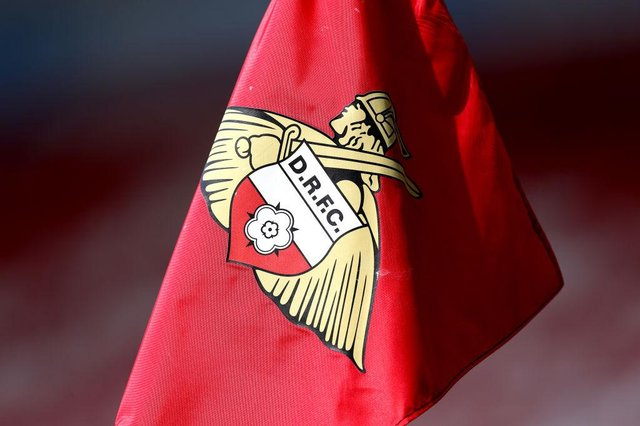 A detailed view of a Doncaster Rovers corner flag.