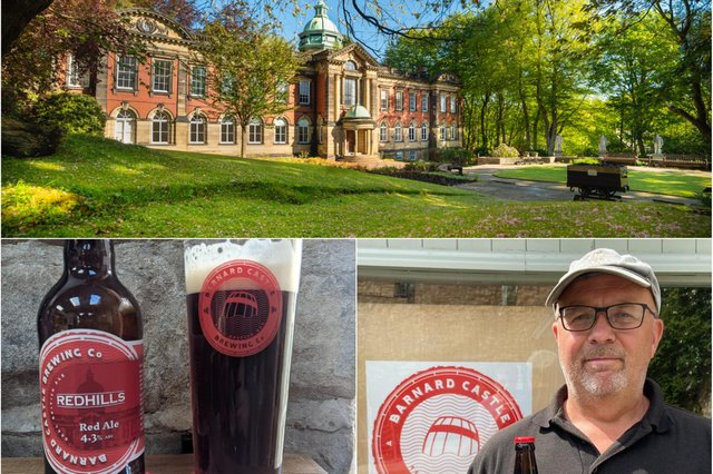 Redhills, the historic home of the DMA, Davis Snaith, business manager at Barnard Castle Brewing Co and Redhills red ale, their latest brew.