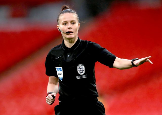 Referee Rebecca Welch during the Women's FA Cup Final at Wembley Stadium, London. PA picture.
