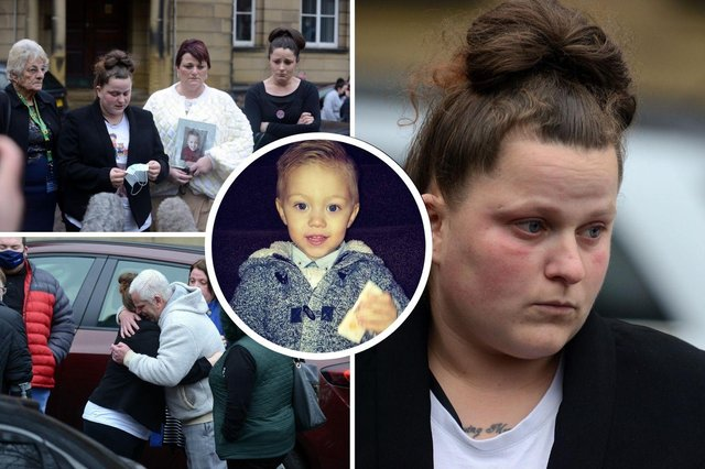 Katrina Keegan with family members following an inquest into the death of her son Sheldon Farnell (inset).