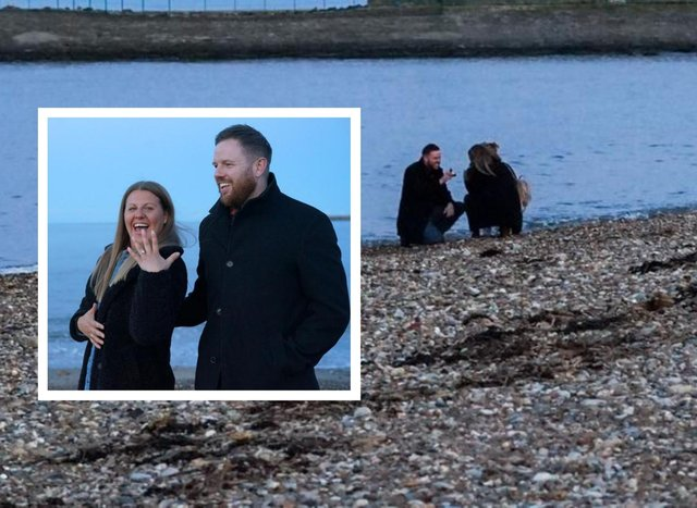 Amanda Davison is delighted with her engagement ring, presented to her by Ian Moore during a surprise proposal on Roker Beach.