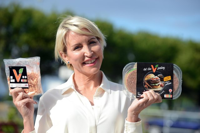 Heather Mills with products made by her VBites company. Her Peterlee site has started production of burgers, as well as fishless fillets.