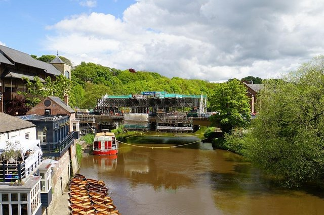 Durham County Council is continuing to carry out repairs to New Elvet Bridge in Durham City Cente.