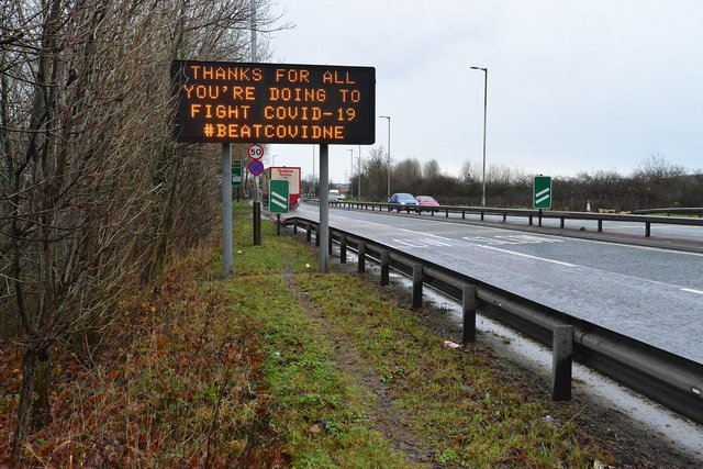 A Covid testing sign A1232, Sunderland. Picture by Frank Reid