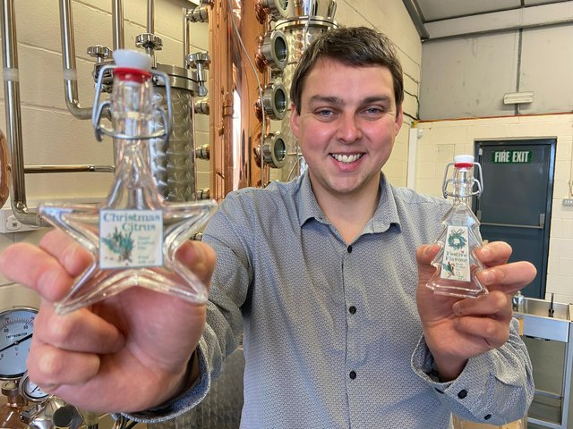 Scott Wilson-Laing with the WL Distillery festive gins