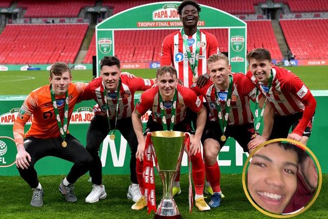 Sunderland's academy graduates celebrate at Wembley. Inset Francis Okoronkwo.