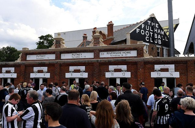 Newcastle United fans outside Craven Cottage in 2016.