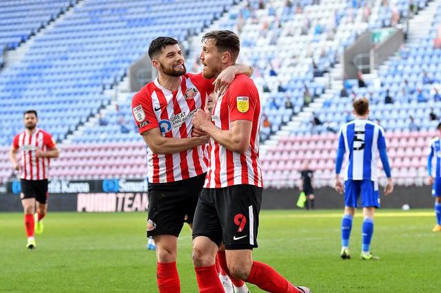 Charlie Wyke and Jordan Jones celebrate against Wigan Athletic.