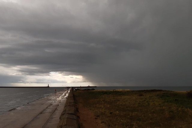 Thunderstorms hit the North East on Monday afternoon.