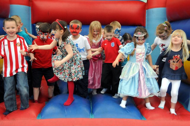 Key Stage 1 pupils from Southwick Primary were pictured having fun on one of the three bouncy castles which were brought in as part of the party to celebrate the Royal wedding. Remember this?