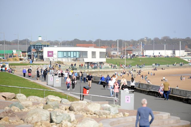People out and about at Seaburn Promenade today enjoying the warm weather and the easing of lockdown rules.