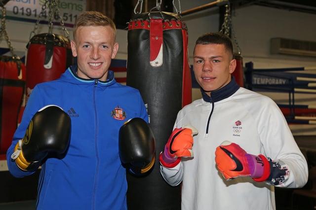 Jordan Pickford (left) and Pat McCormack when Jordan visited Pat's base at Birtley Boxing Club