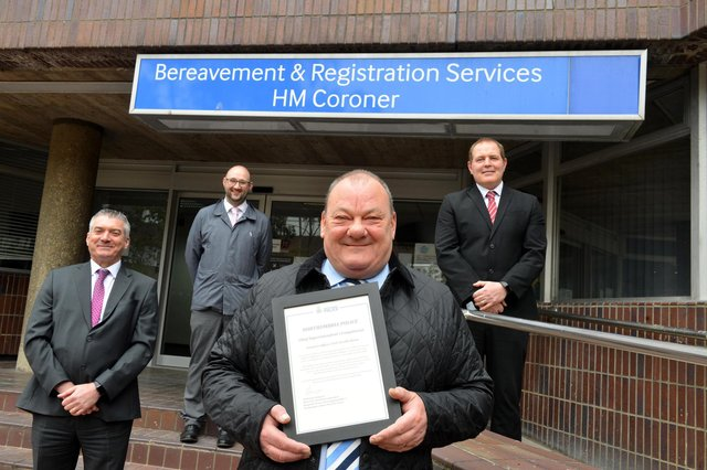 Sunderland coroner's officer Neville Dixon has retired from his role. From left Northumbria Police Detective Chief Inspector Ed Small, Detective Inspector Chris Deavin and Dectective Superintendent Mark Ord as they presented him with a Chief Superintendent's Compliment for his work.