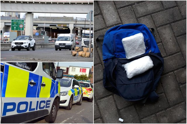 Northumbria Police found a rucksack carrying suspected Class A drugs when they stopped a car after it had travelled along the A1 northbound before heading through the Tyne Tunnel.