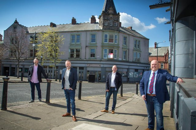 Lee Smith from Theatre Leisure, Dave Guy from Theatre Leisure, Giles McCourt from Muckle LLP, who negotiated the lease on behalf of Theatre Leisure and Lee Robson from Theatre Leisure