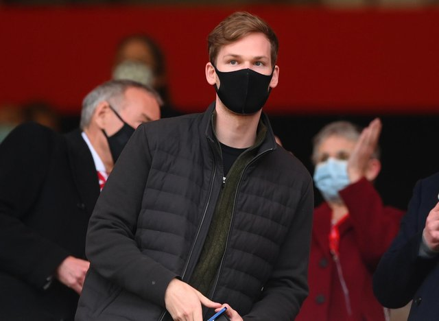 SUNDERLAND, ENGLAND - MAY 22: Sunderland owner Kyril Louis-Dreyfus looks on before the Sky Bet League One Play-off Semi Final 2nd Leg match between Sunderland and Lincoln City  at Stadium of Light on May 22, 2021 in Sunderland, England. (Photo by Stu Forster/Getty Images)