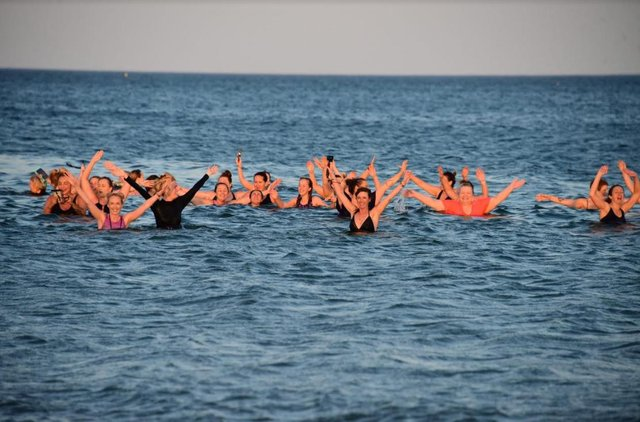 Members of the Wild Sea Women group enjoy their last North Sea dip together before the new rules capped the number of people allowed to socialise at six.