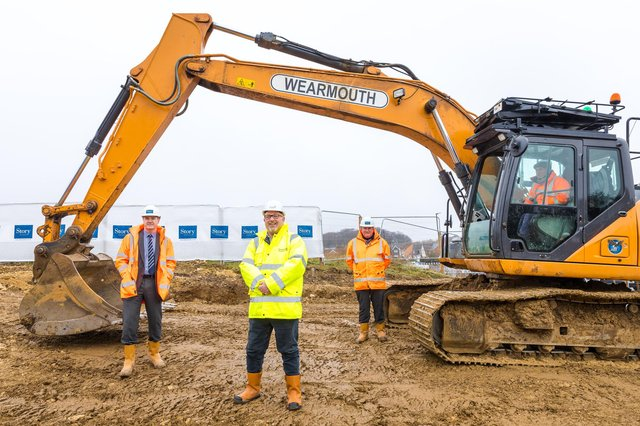 Work starts at The Birches new housing development by Story Homes in Sunderland. L/R Allan Thompson ( NE MD Story Homes), Cllr Graeme Miller and Pat O'Neil (Prodcution Director Story Homes)