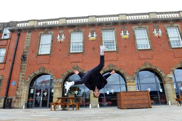 Dance City Sunderland launch at The Engine Room. Street dancer Robby Graham.
