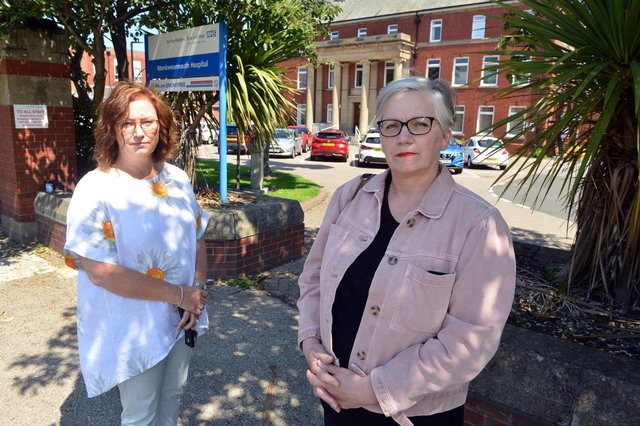 Community action group Joanne Roulstone and Tracey Younger (R) fight to save Monkwearmouth Hospital from demolition.