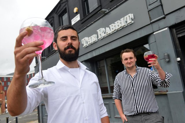 The Rabbit bar reopens following a refurbishment. Bar managers from left Liam Duffield and Sam Bartlett